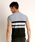 Sauvage Luxury Italian Knit Engineered Striped T-Shirt Charcoal, view 4