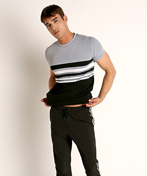 Sauvage Luxury Italian Knit Engineered Striped T-Shirt Charcoal
