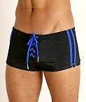 Sauvage Football Lace-up Swim Trunk Black/Cobalt, view 3
