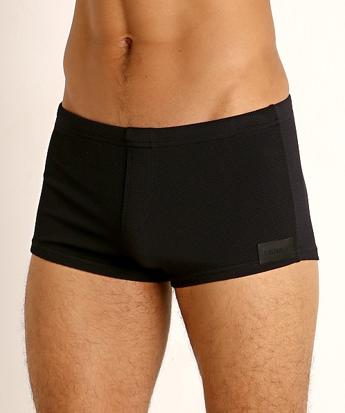 Sauvage Pique Textured Square Cut Swim Trunk Black