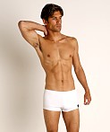 Sauvage Pique Textured Square Cut Swim Trunk White, view 2