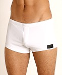 Sauvage Pique Textured Square Cut Swim Trunk White, view 3