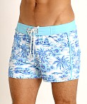 Sauvage Retro Lycra Swim Short Sky Hawaii Print, view 3