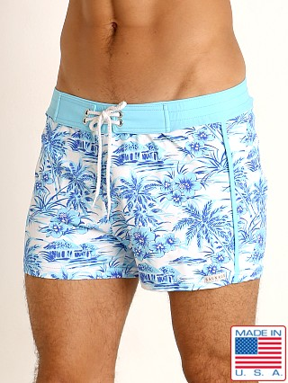 Model in sky hawaii print Sauvage Retro Lycra Swim Short