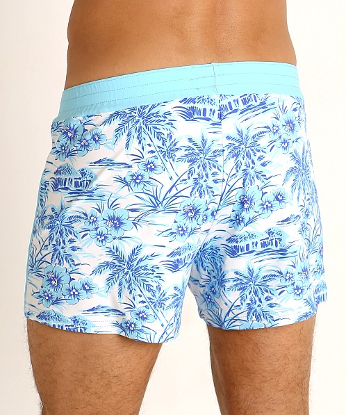 Sauvage Retro Lycra Swim Short Sky Hawaii Print