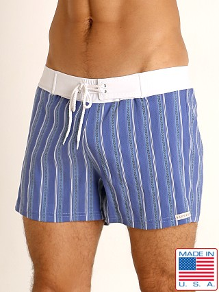 Model in royal stripe Sauvage Retro Lycra Swim Short