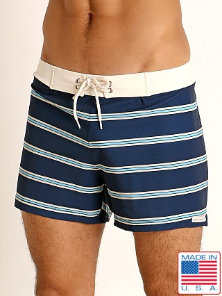 Model in marine stripe Sauvage Retro Lycra Swim Short