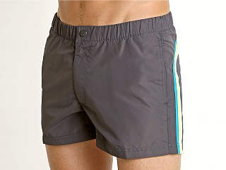 "Model in midnight 13 Sundek 13"" Elastic Waistband Surf Trunk"