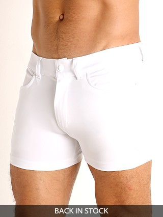 Model in white LASC Retroactive Scouting Shorts