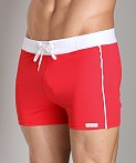 Sauvage Retro Nylon/Lycra Swim Short Red, view 3