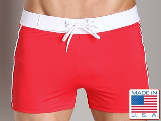 Model in red Sauvage Retro Nylon/Lycra Swim Short