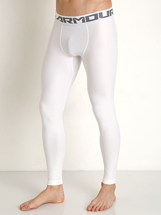 Model in white/graphite Under Armour Heatgear Compression Leggings
