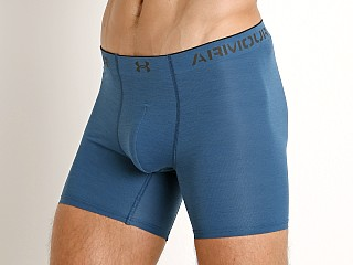 "Model in blue light heather/black Under Armour Armourvent Mesh 6"" Boxerjock Blue Light Heather/Bla"