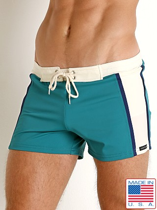 Sauvage Varsity Stripe Swim Trunk Green/Cream