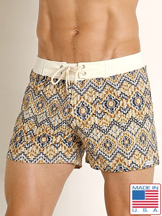 Sauvage Vintage Italia Print Swim Trunk Cream Labyrinth