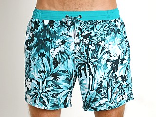 Model in teal print Hugo Boss Mandarinfish Swim Shorts Teal