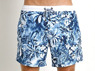 Model in navy print Hugo Boss Mandarinfish Swim Shorts Navy