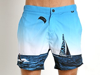 Model in blue sailboat print Hugo Boss Blackfish Swim Shorts Blue