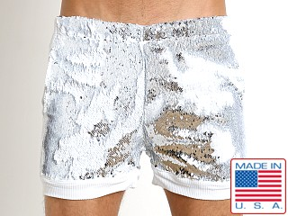 LASC Transformer Sequined White Party Sparkle Trunk Silver/White