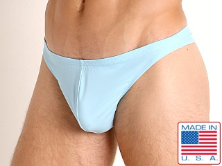Model in baby blue LASC Brazil Swim Thong