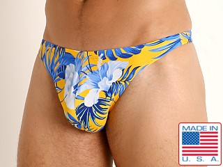 Model in blue hibiscus LASC Brazil Swim Thong