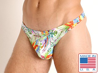 Model in bright macaws LASC Brazil Swim Thong