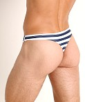 LASC Brazil Swim Thong Navy Sailor Stripes, view 4