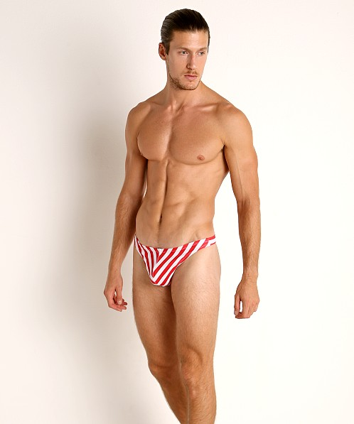 LASC Brazil Swim Thong Red Sailor Stripes