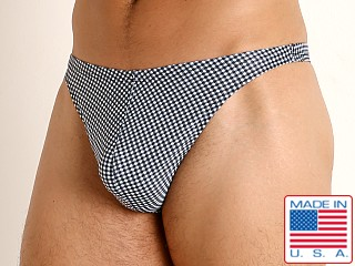 LASC Brazil Swim Thong Black Gingham Checks