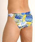 LASC Super Low Rise Swim Brief Blue Hibiscus, view 4