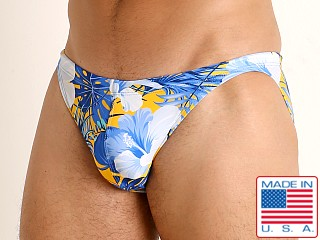 Model in blue hibiscus LASC Super Low Rise Swim Brief