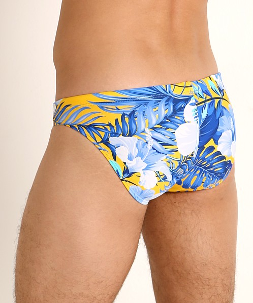 LASC St. Tropez Low Rise Swim Brief Blue Hibiscus