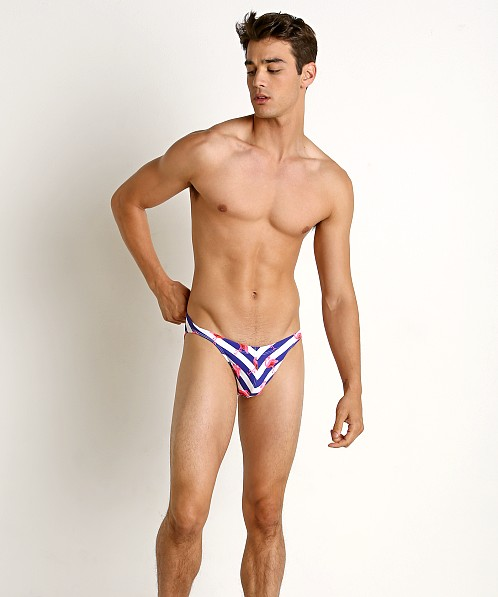 LASC Super Low Rise Swim Brief Striped Flamingo