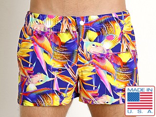 Model in magenta fish LASC Malibu Swim Shorts