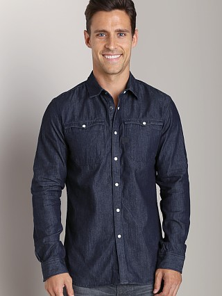 Model in rinsed G-Star Hunter Western Shatter Denim Shirt