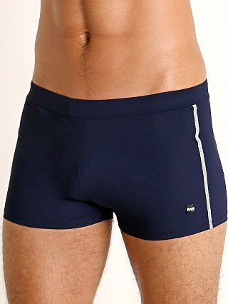 Model in navy Hugo Boss Oyster Swim Trunk