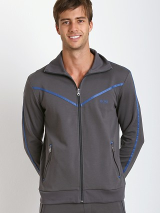 Model in dark grey Hugo Boss Innovation 5 Zipper Jacket