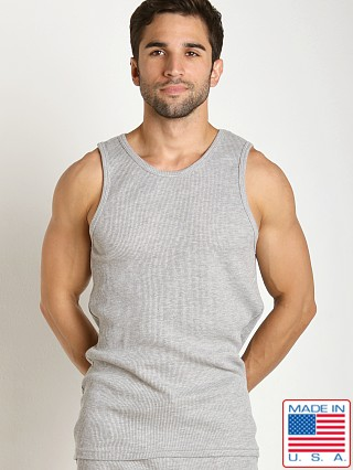 Model in heather grey LASC Baby Waffle Tank Top