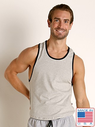 Model in heather American Jock Equipo Scoop Tank Top