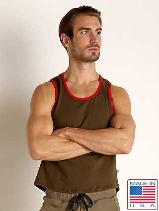 Model in olive American Jock Equipo Scoop Tank Top