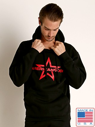 Model in black American Jock Equipo Hoody