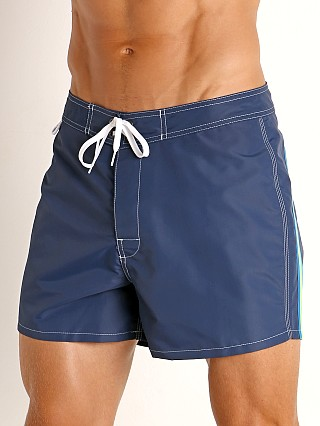 "Model in navy #28 Sundek 14"" Classic Low-Rise Boardshort"