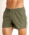 "Sundek 13"" Elastic Waistband Surf Trunk Deep Army Green #8, view 3"