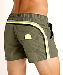 "Sundek 13"" Elastic Waistband Surf Trunk Deep Army Green #8, view 4"