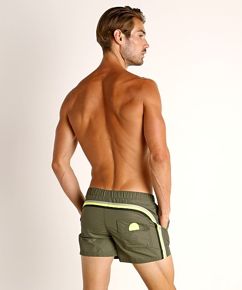 "Sundek 13"" Elastic Waistband Surf Trunk Deep Army Green #8"
