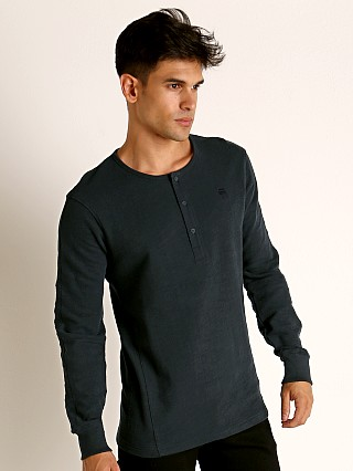 Model in legion blue G-Star Motac Grandad Long Sleeve Henley