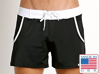Model in black Sauvage Pocket Retro Swim Short