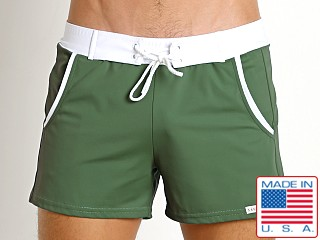 Model in army Sauvage Pocket Retro Swim Short