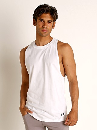 Model in white/pitch gray Under Armour Baseline Cotton Tank Top