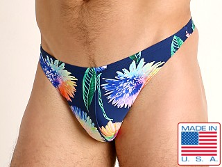 Model in african daisies LASC Brazil Swim Thong